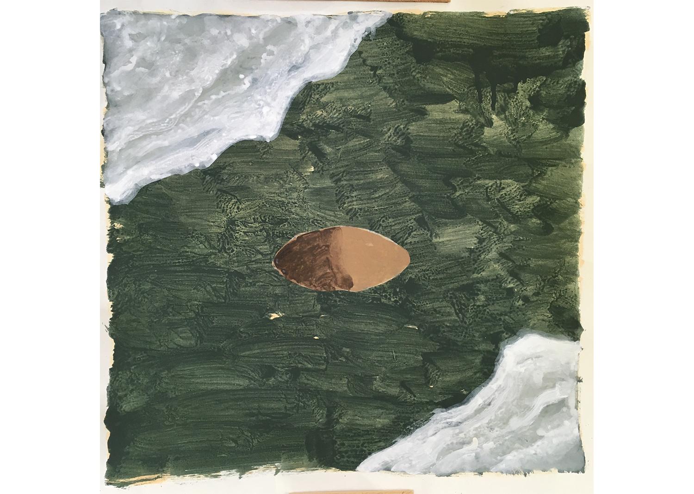 박수연_두개의 물과 하나의 구덩이_장지에 과슈_67x67cm_2021@Sooyeon Park_Two water and one pit._gouache on paper_67x67cm_2021