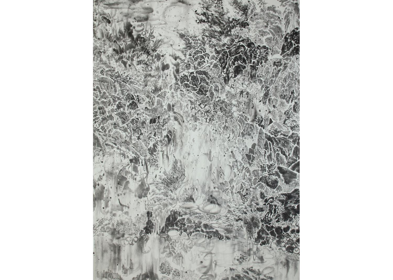 차현욱, 고립된 그날의 정원, 한지에 먹, 90×122cm, 2017 @Cha hyeonuk , The Garden of the Isolated Day, Chinese ink on Korean traditional paper, 90×122cm, 2017