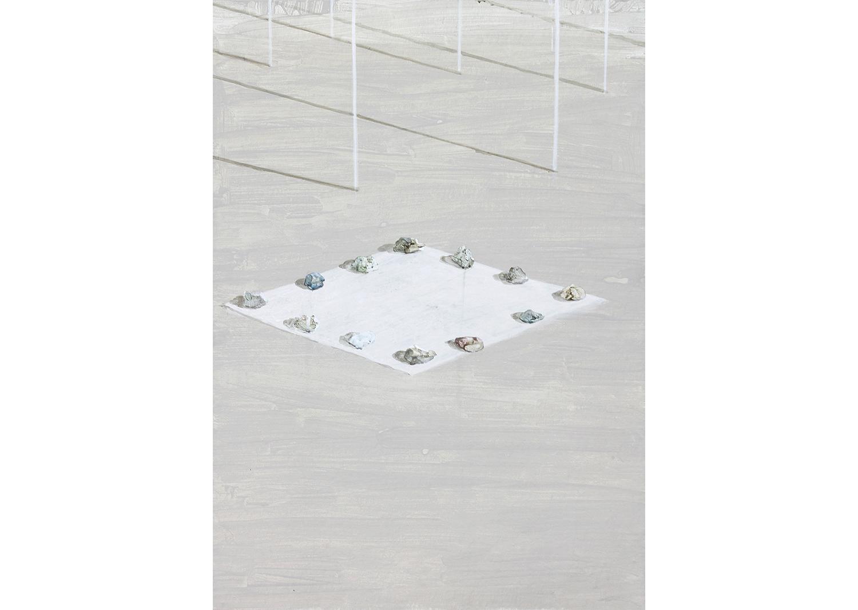 박수연, 12개의 돌과 빛, 장지에 과슈, 65.1x90.0cm ,2016@Park Suyeon,12 stones and light, Gouache on the paper, 65.1x90.0cm, 2016