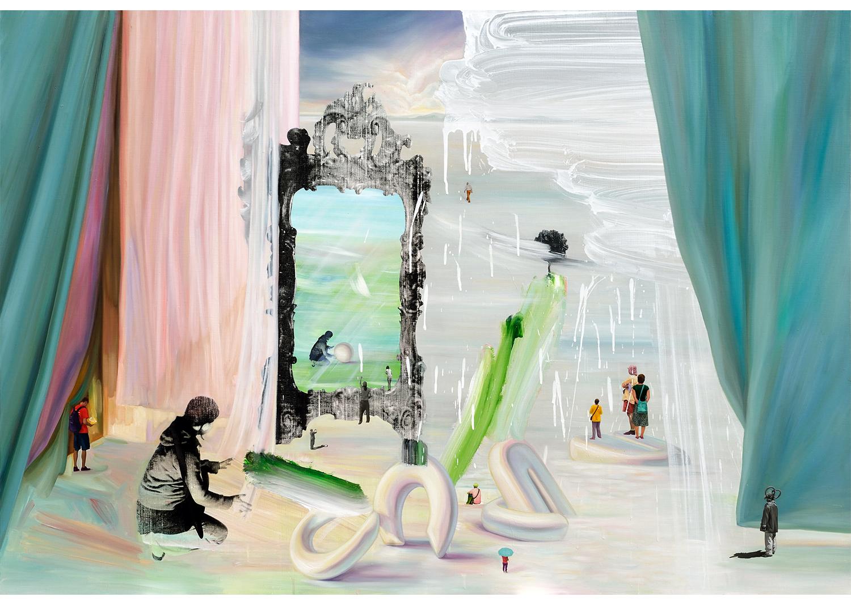 차소림, 거울이 있는 풍경,  acrylic, oil, silk screen, sticker on canvas,162.2x112.2cm, 2014@Cha, Solim, On the shore across the river I, 116x72cm, oil on canvas sticker, 2014