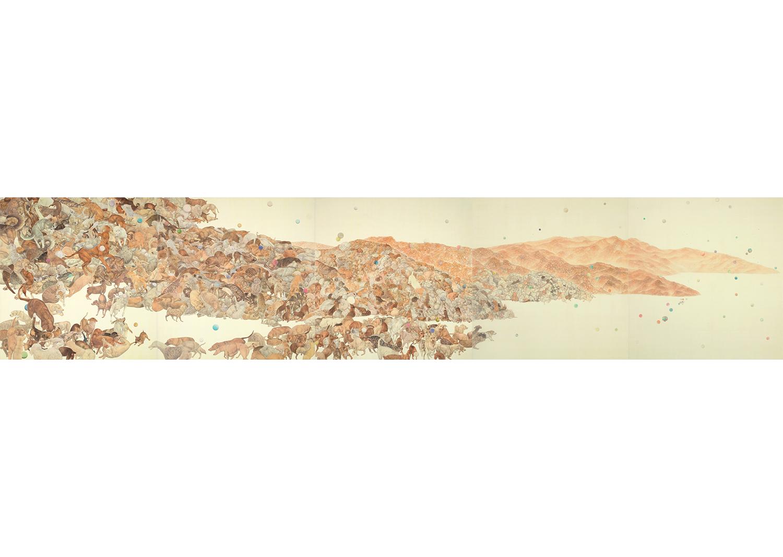 진민욱, 작은소동, 비단에 채색, 161X156.5cmX5ea, 2014@Jin, Minwook, Small uproar, coloring on the silk, 161X156.5cmX5ea, 2014