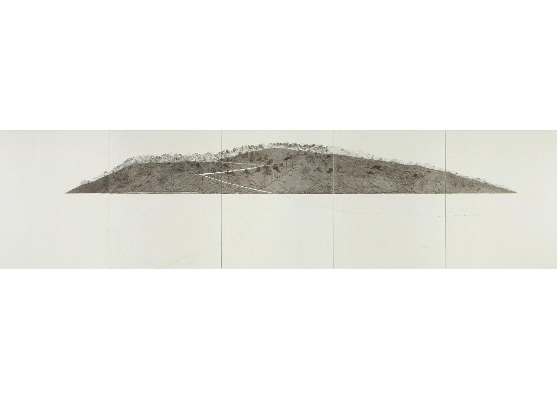 박한샘, 털미섬_2,  한지 위에 수묵, 162.0x620.0 cm, 2015@hansame park, Teol Mi Island_2, ink on korean paper, 2015
