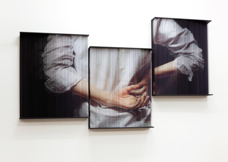 홍성철, String hands_5481 (Triptych), mixed media, 80 x 100 x 14(cm)x3, 2017@Hong Sungchul,String hands_5481 (Triptych), mixed media, 80 x 100 x 14(cm)x3, 2017