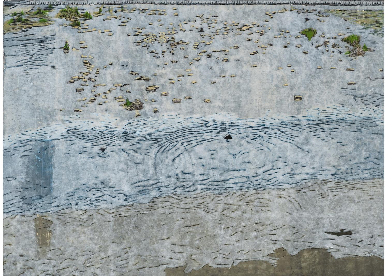 권세진, 다리에서, gouache on paper, 138.5×191.5cm, 2016 @Kwon Sejin, On the bridge, gouache on paper, 138.5×191.5cm, 2016