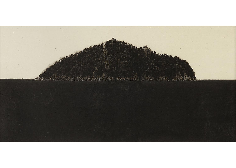 박함샘, 섶섬, 한지 위에 수묵,  40.5X78.3cm , 2014@hansame park, Soep Island, ink on korean paper, 40.5x78.3cm, 2014