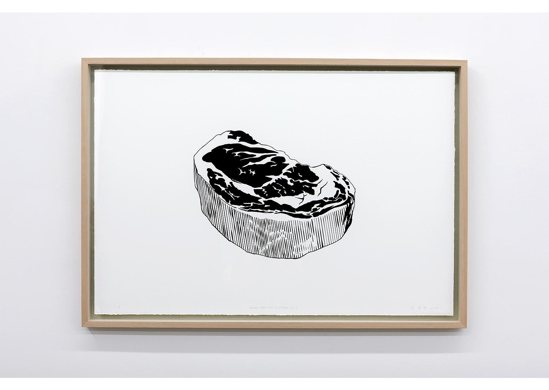 김영재_Fresh meat for Sculptors no.1_종이에 잉크, 실크스크린_70x100cm_2021@Youngjae Kim_Fresh meat for Sculptors no.1_Ink on paper, Silkscreen_70x100cm_2021