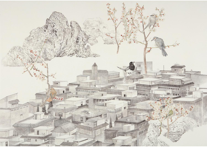 진민욱, 延禧梅花雀鵯圖, 장지에 수묵채색, 121.5 x 171 cm, 2016@Jin, Minwook, Yeonheemaehwajakbido, ink and wash painting on the paper,121.5x171cm,2016