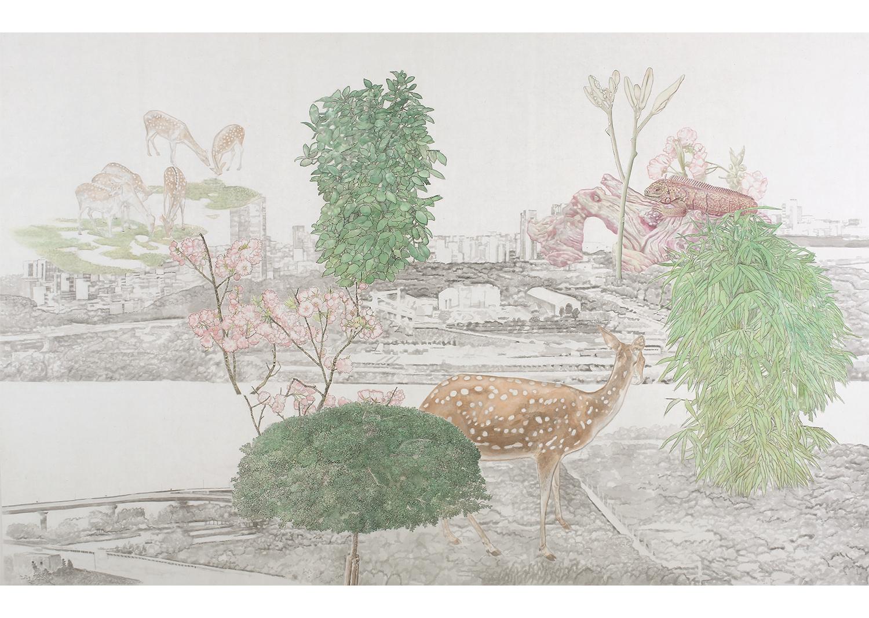 소소경-서울숲, 178 x114 cm,  비단에 수묵채색,  2019@Sosokyeong – Seoul Forest, 114 x 178cm, ink and mineral pigments on silk 2019
