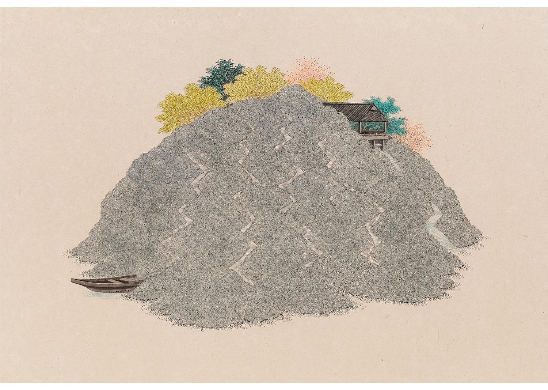 김민주, 사유의 섬, 장지에 먹과 채색, 66x96cm, 2017@ Kim, minjoo, Island of Thinking, Ink and Color on Korean paper, 66x96cm, 2017