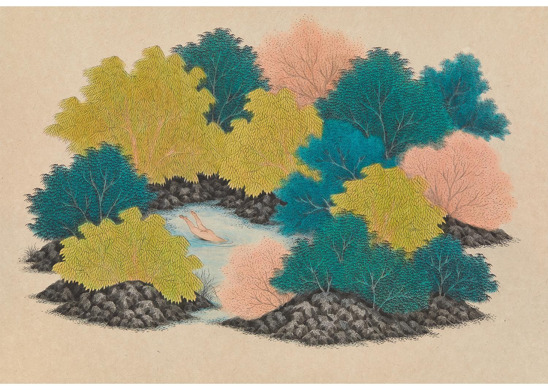 김민주, 사유의 숲, 장지에 먹과 채색, 66x96cm, 2019@ Kim, minjoo,  Forest of Thinking, Ink and Color on Korean paper, 66x96cm, 2017