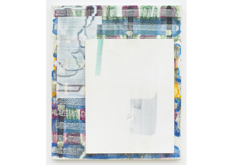액자식 꿈, 잊힌 꽃 Dream of Frame, Forgotten Flower_캔버스에 아크릴과 겔 미디움, 먹지, 스테인리스 스터드_72x60cm_2020@Dream of Frame, Forgotten Flower_Acrylic, gel medium, carbon, stainless stud on canvas_72x60cm_2020