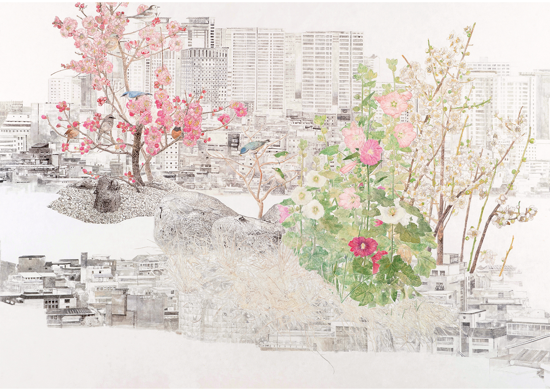 진민욱, 梨泰院梅葵圖, 장지에 수묵채색, 121.5x171cm, 2017@Jin, Minwook, Itaewonmegyudo, ink and wash painting on the paper, 121.5x171cm, 2017