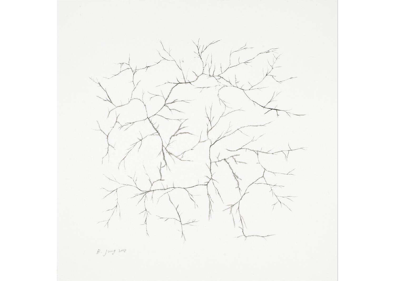 REACHING, ink on mulberry Hanji, 68.5x70, 2017@REACHING, ink on mulberry Hanji, 68.5x70, 2017
