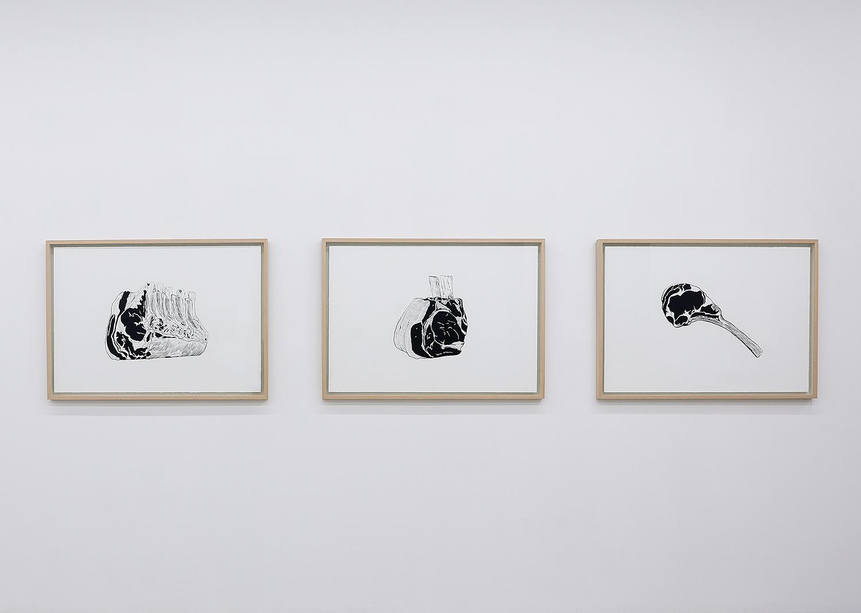 김영재_Fresh meat for Sculptors no.6, 4, 5_종이에 잉크, 실크스크린_각 70x100cm_2021@Youngjae Kim_Fresh meat for Sculptors no.6, 4, 5_Ink on paper, Silkscreen_70x100cm(each)_2021