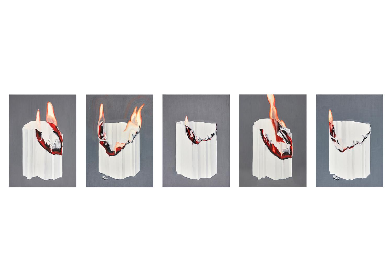 노은주, Burned, 캔버스에 유채, 각 45.5x33.4cm, 2017@Roh, eunjoo, Burned, Oil on canvas, each 45.5x33.4cm, 2017