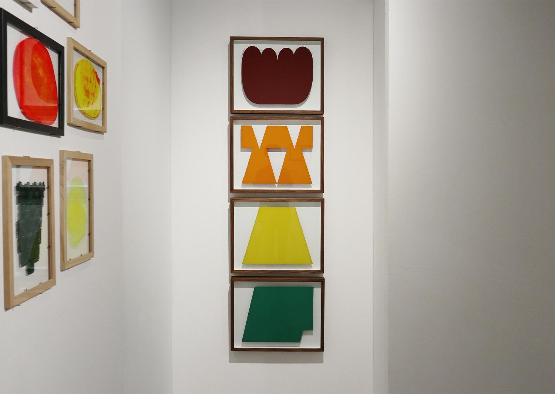 오완석_underpainting Colony Red AE-6 (1), OSHA Safety Orange 3 (1),Yellow 6 (1), Green 2 (1)_유리에 페인트_40x50cm_2020@Oh Wanseok_underpainting Colony Red AE-6 (1), OSHA Safety Orange 3 (1), Yellow 6 (1), Green 2 (1)_paint on glass_40x50cm_2020
