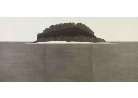 박한샘, 목섬_1,  한지 위에 수묵, 180.0x381.0 cm, 2015@hansame park, Mok Island_1, ink on korean paper, 180.0x381.0cm, 2015
